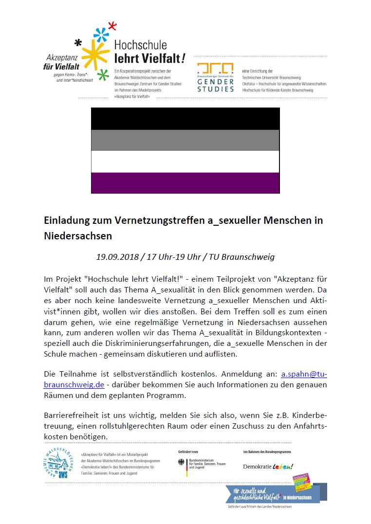 Vernetzungstreffen a_sexueller Menschen in Niedersachsen am 19.09.2018